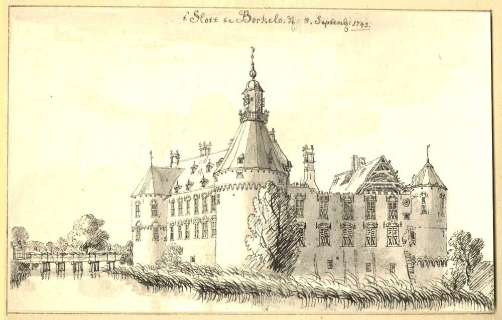 Kasteel Borculo in Borculo. Tekening Jan de Beijer, 1743